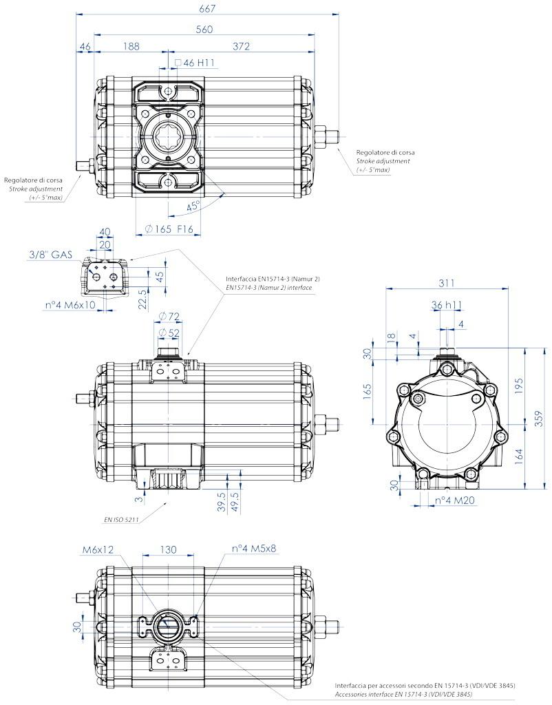 GD双效铝制气动执行器 - 特性 - GD2880(Nm)双效气动执行器