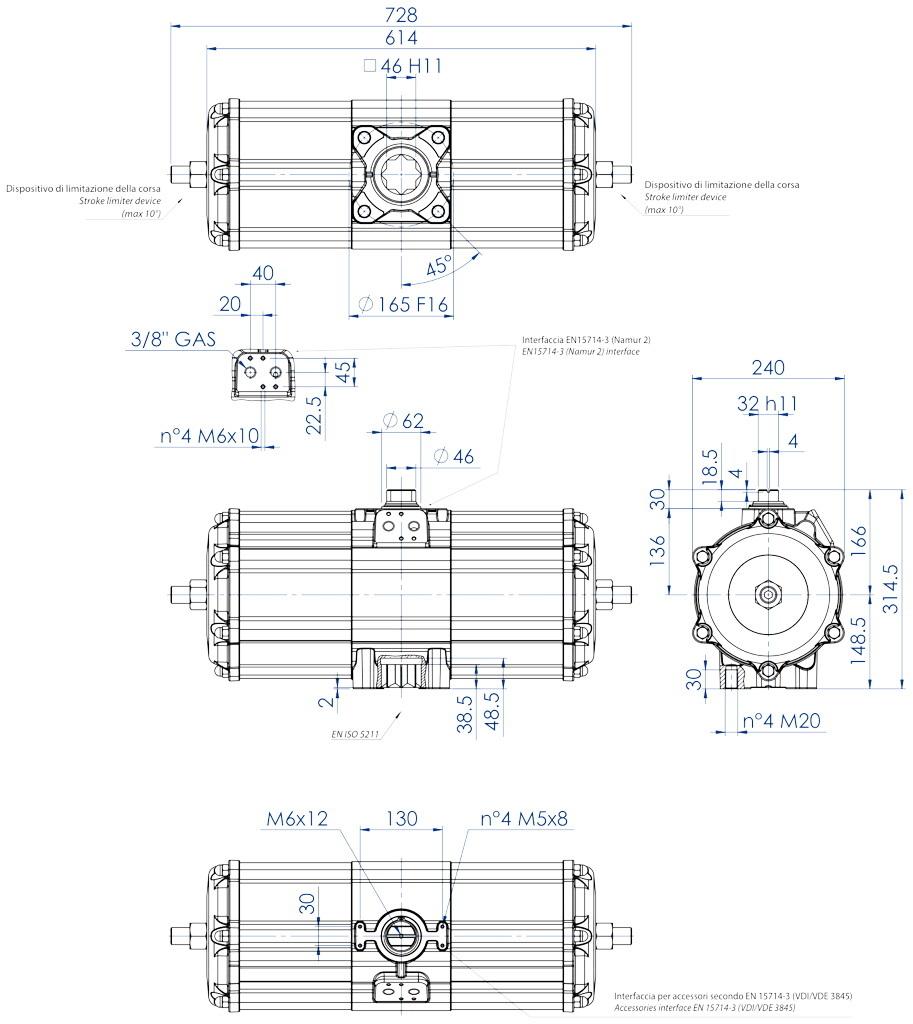 GD双效铝制气动执行器 - 特性 - GD3840(Nm)双效气动执行器