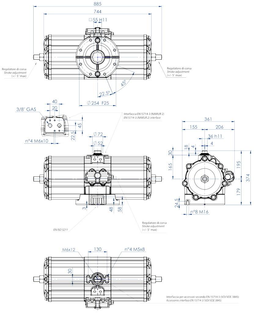 GD双效铝制气动执行器 - 特性 - GD5760(Nm)双效气动执行器