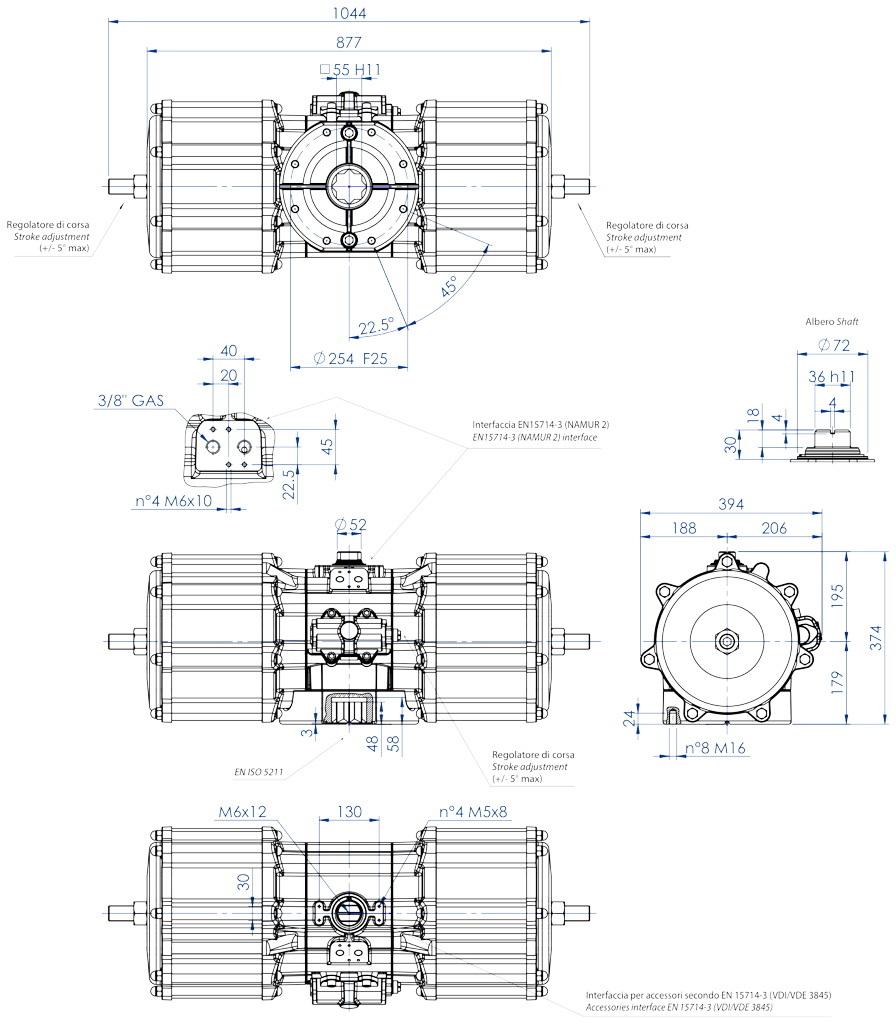 GD双效铝制气动执行器 - 特性 - GD8000(Nm)双效气动执行器