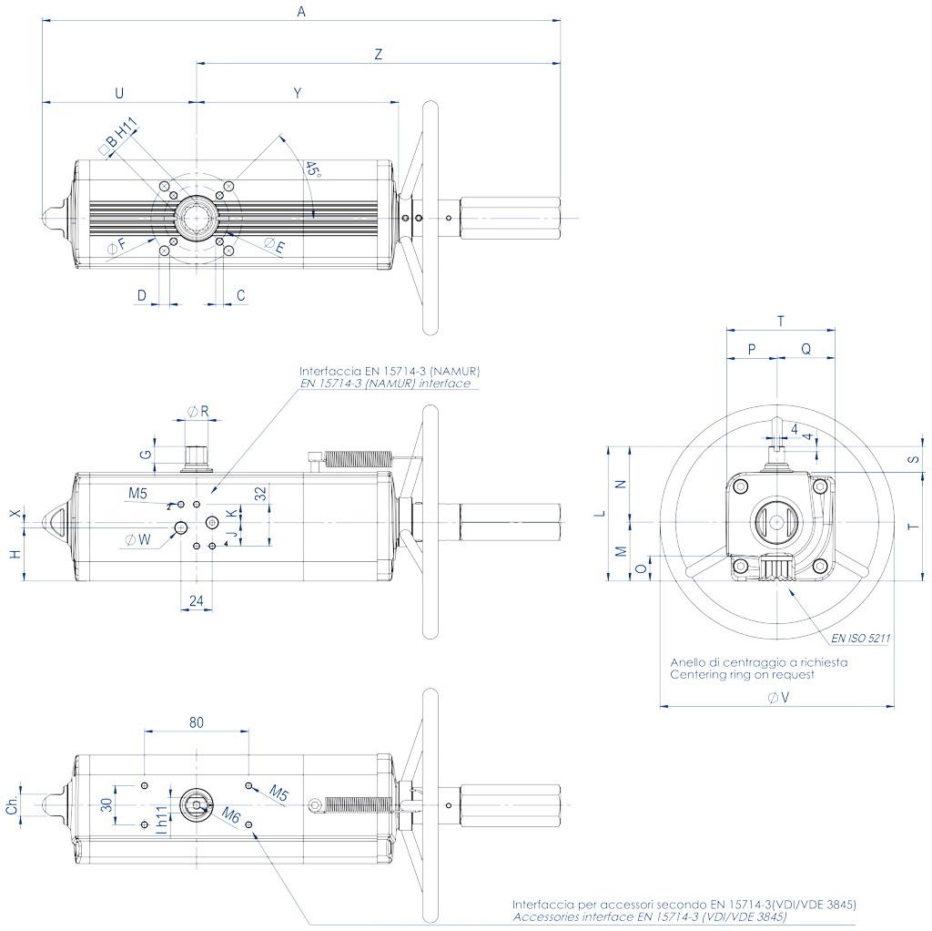 集成手动操纵装置的GDV型双效气动执行器 - 特性 - GDV60 ÷ GDV1920