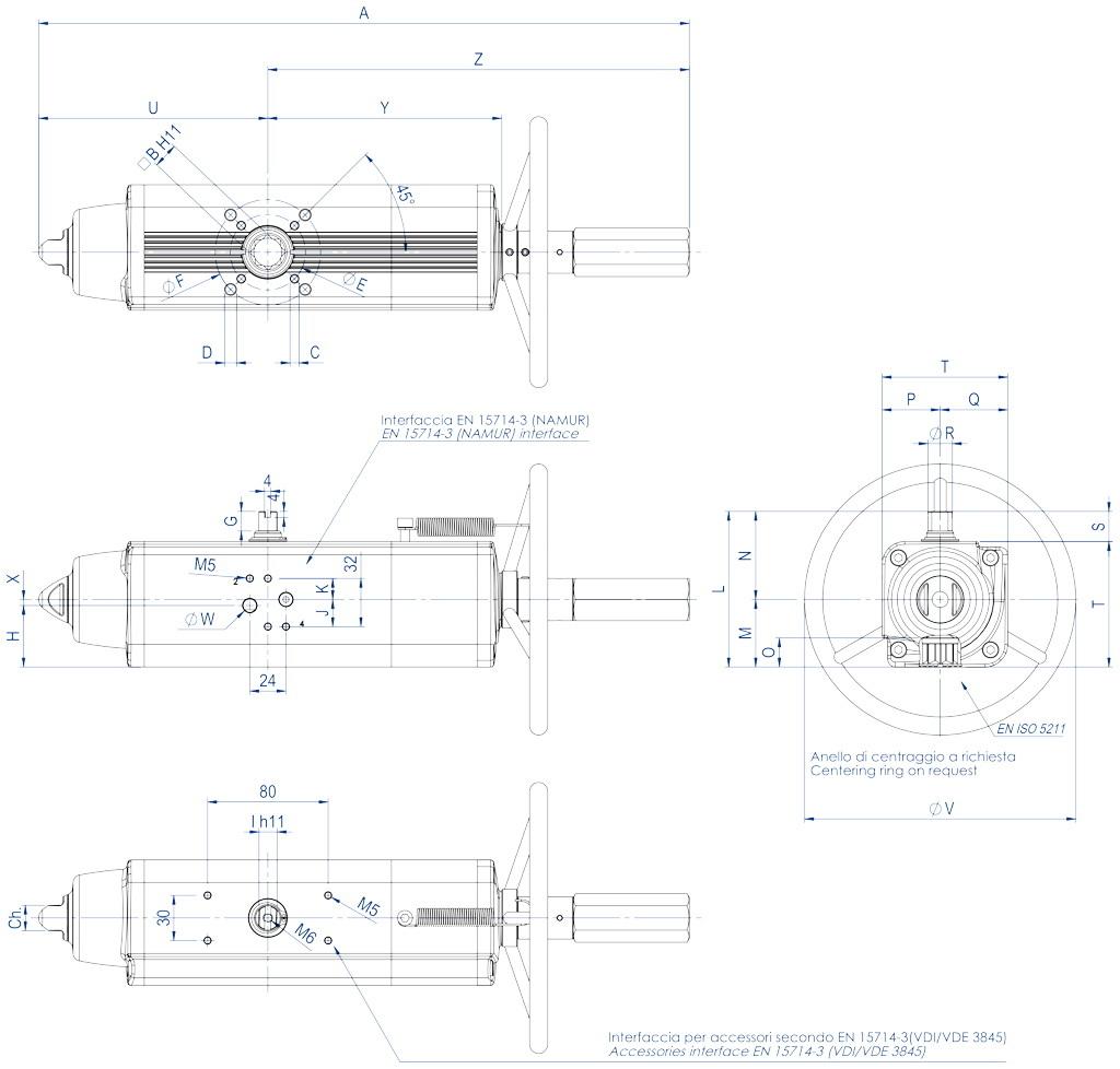 集成手动操纵装置的GSV型单效气动执行器 - 特性 - GSV30 ÷ GSV960