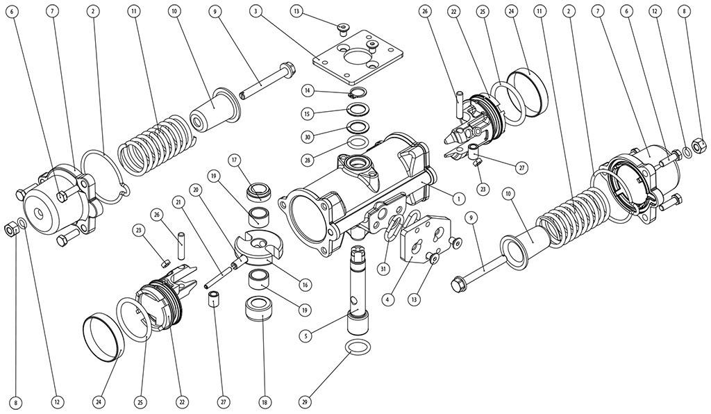 失蜡法CF8M不锈钢材质GS型单效气动执行器 - 物料 - CF8M精密铸造