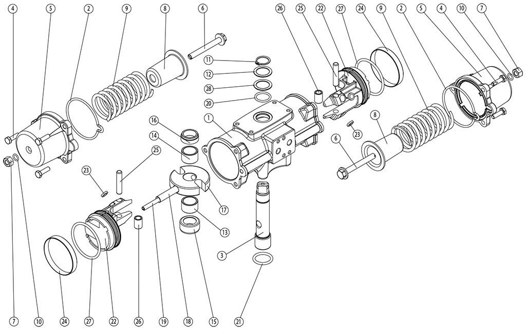 失蜡法CF8M不锈钢材质GS型单效气动执行器 - 物料 -