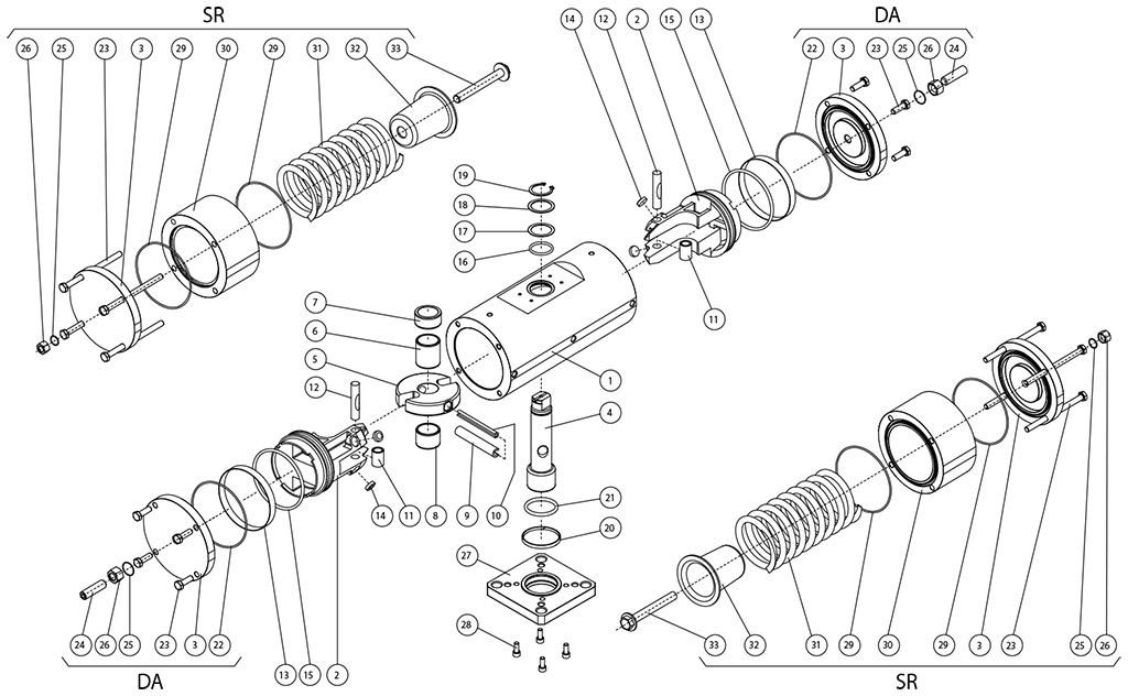 316圆不锈钢材质GS型单效气动执行器 - 物料 - 316不锈钢杆式双效和单效执行器组件