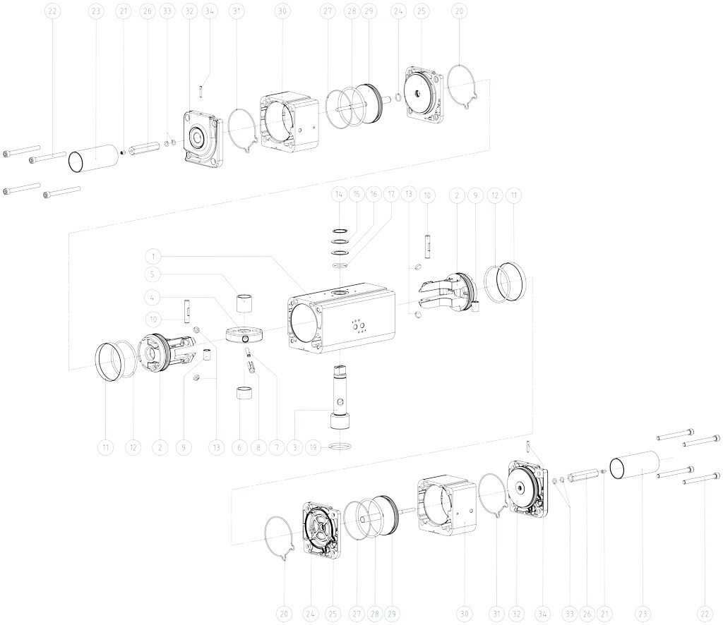 铝制GDD型计量给料气动执行器 - 物料 - 下述尺寸的双级气动执行器组件:GDD30-GDD480