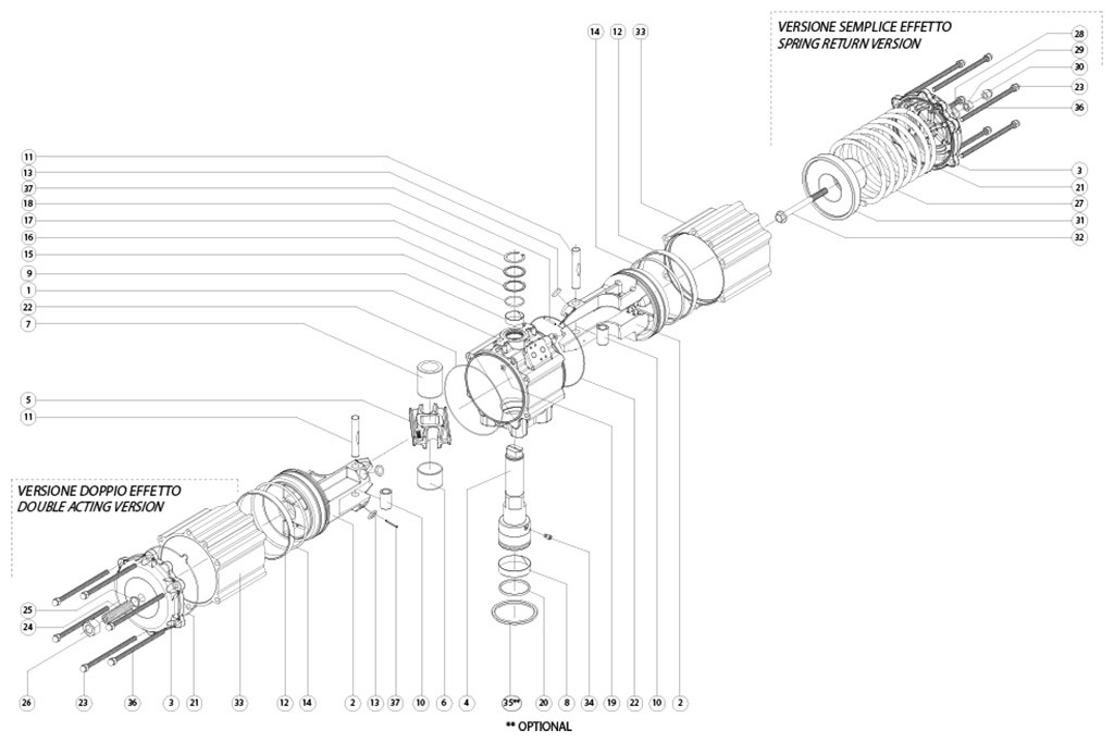 GD双效铝制气动执行器 - 物料 - 下述尺寸的双效气动执行器组件:GD3840