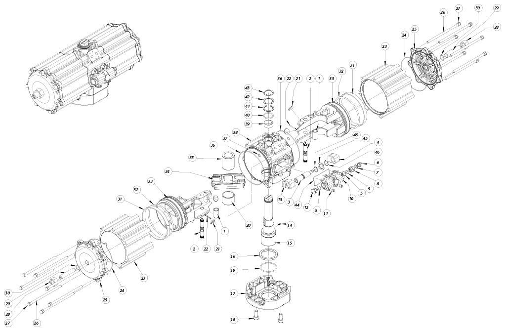 GD双效铝制气动执行器 - 物料 - 下述尺寸的双效气动执行器组件:GD5760