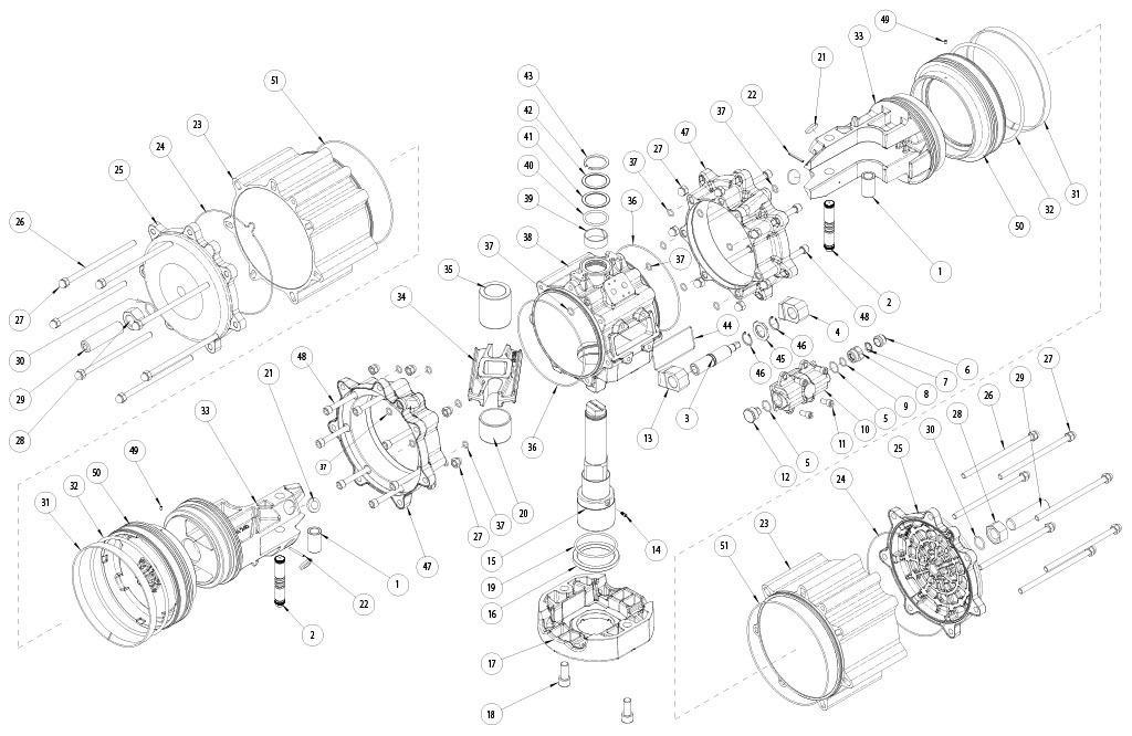 GD双效铝制气动执行器 - 物料 - 下述尺寸的双效气动执行器组件:GD8000