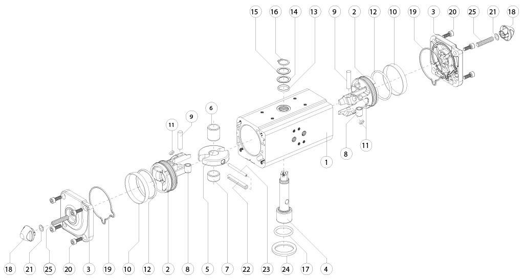 GD双效铝制气动执行器 - 物料 - 下述尺寸的双效气动执行器组件:GD15-GD1920
