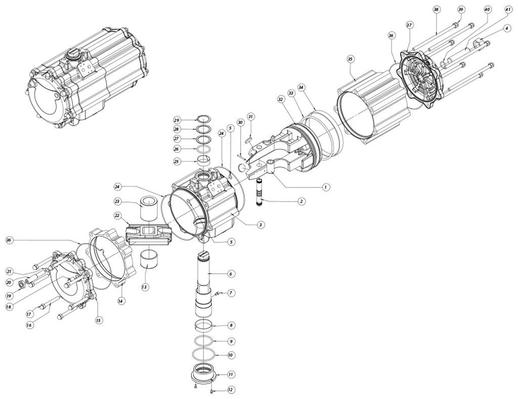 GD双效铝制气动执行器 - 物料 - 下述尺寸的双效气动执行器组件:GD2880