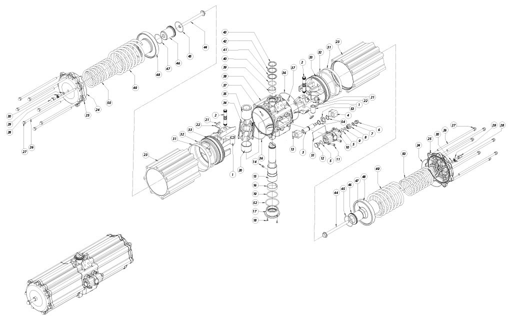 GS型铝制单效气动执行器 - 物料 - 下述尺寸的单效气动执行器组件:GS2880