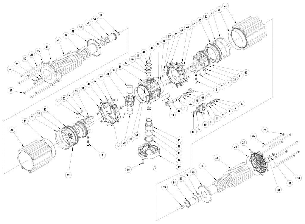 GS型铝制单效气动执行器 - 物料 - 下述尺寸的单效气动执行器组件:GS4000