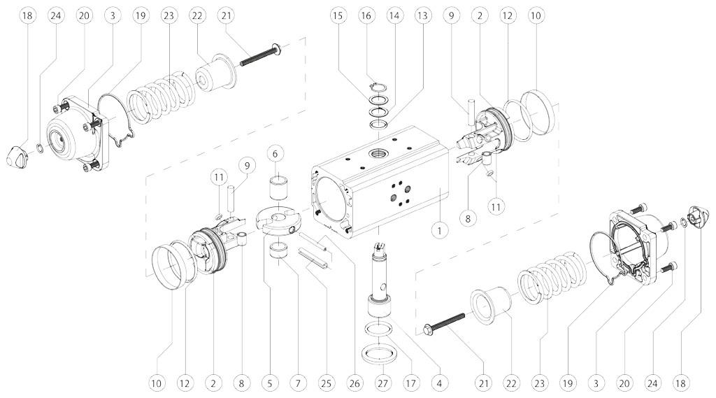 GS型铝制单效气动执行器 - 物料 - 下述尺寸的单效气动执行器组件:GS15-GS960