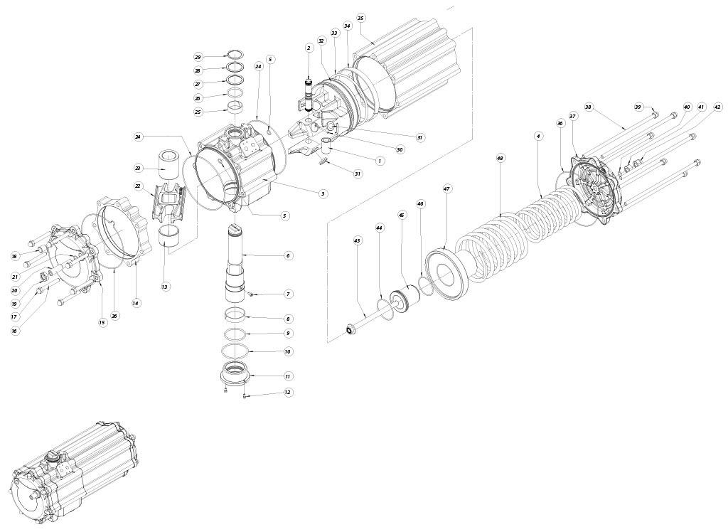 GS型铝制单效气动执行器 - 物料 - 下述尺寸的单效气动执行器组件:GS1440