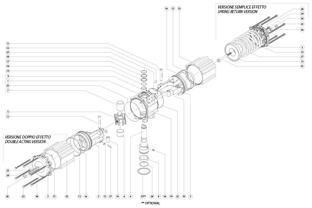 GS型铝制单效气动执行器 - 物料 - 下述尺寸的单效气动执行器组件:GS1920