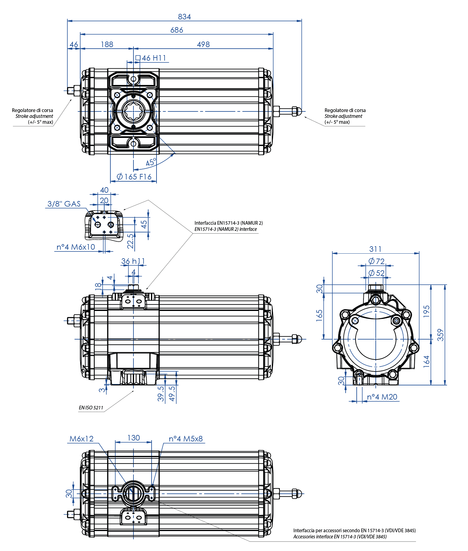 GS型铝制单效气动执行器 - 特性 - GS1440(Nm)单效气动执行器