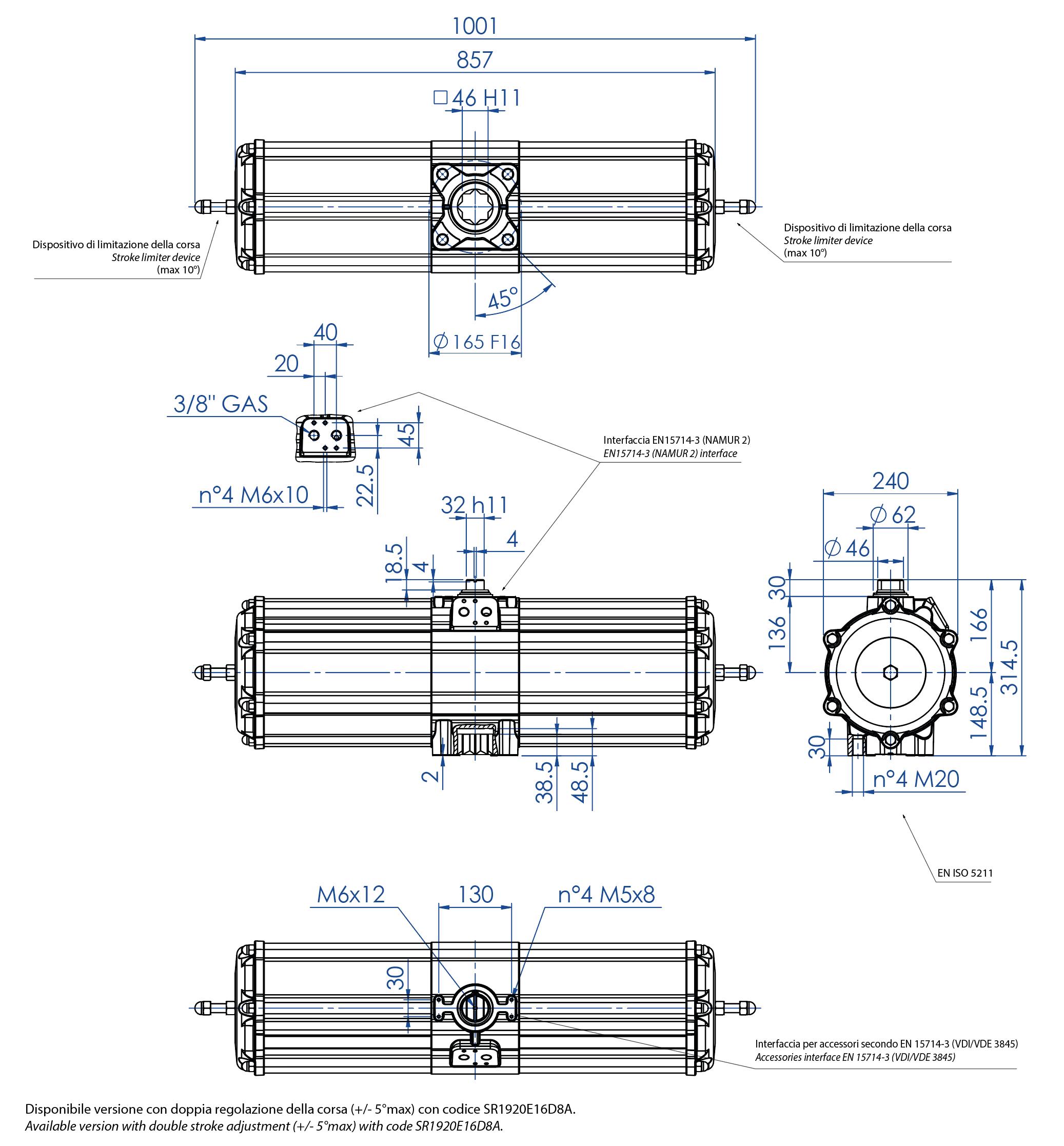 GS型铝制单效气动执行器 - 特性 - GS1920(Nm)单效气动执行器