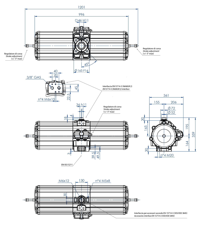 GS型铝制单效气动执行器 - 特性 - GS2880(Nm)单效气动执行器