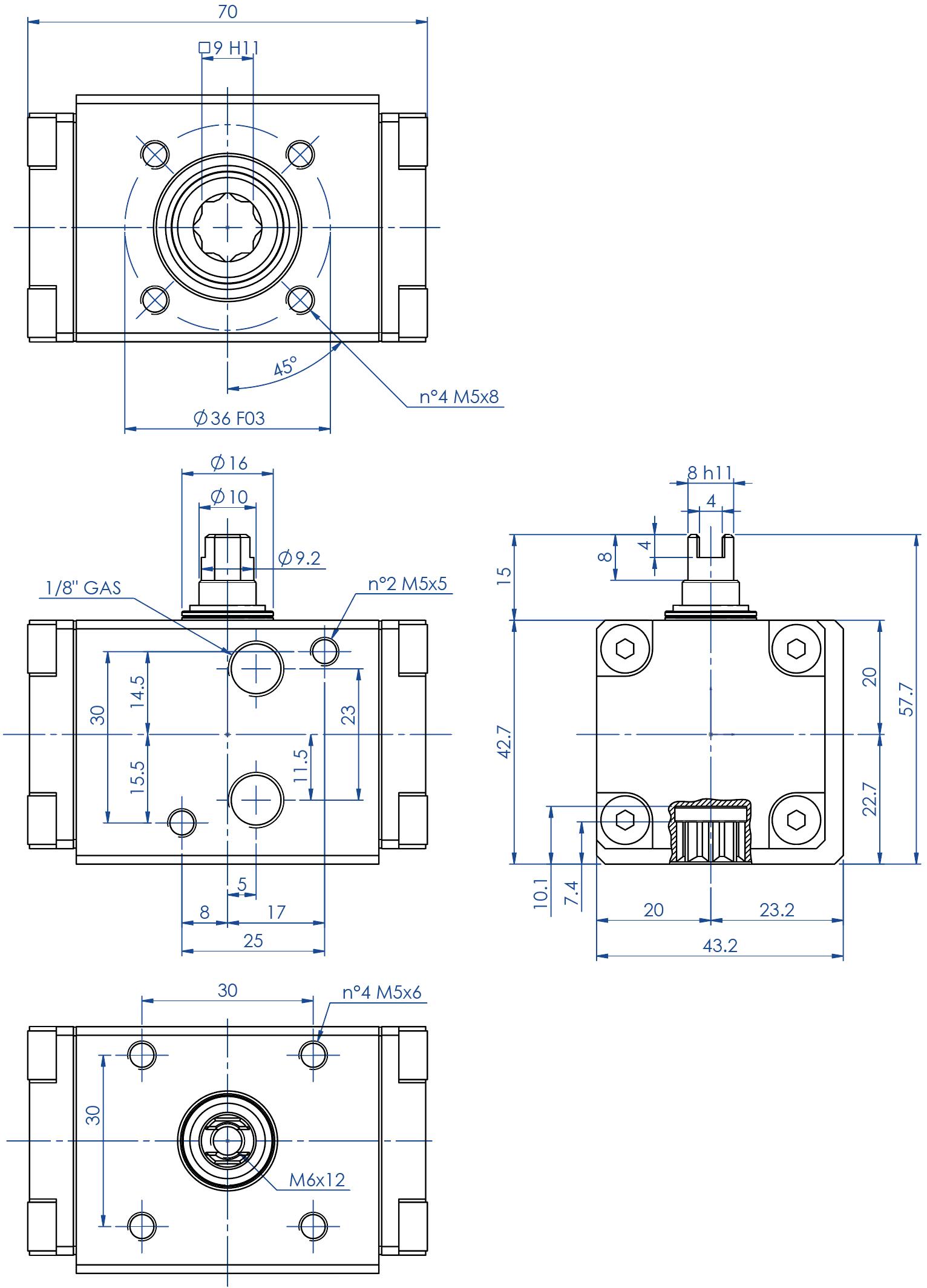 GD双效铝制气动执行器 - 特性 - GD08(Nm)双效执行器