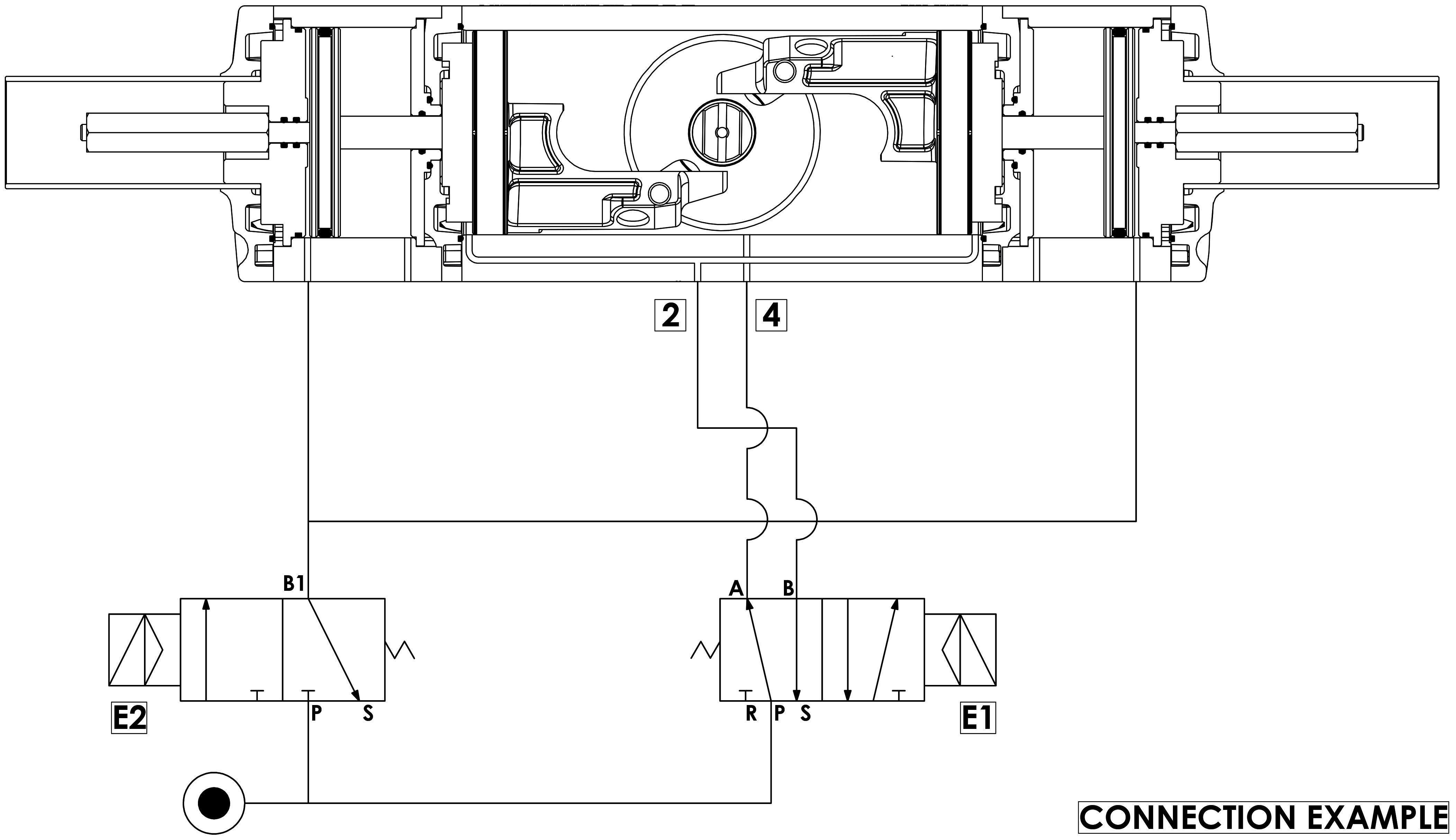 铝制GDD型计量给料气动执行器 - 规格 - 运行示意图