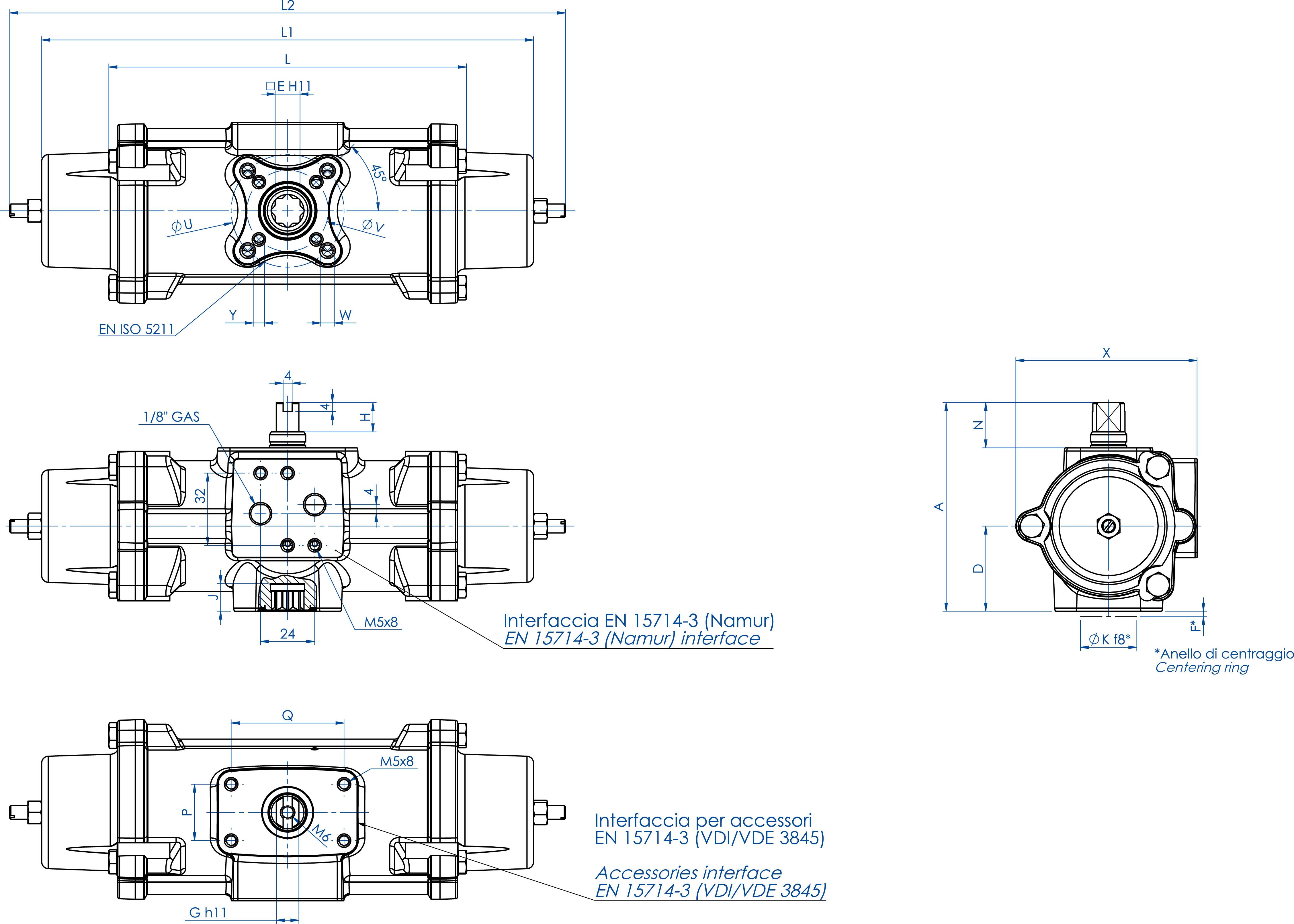 失蜡法CF8M不锈钢材质GS型单效气动执行器 - 特性 - GS30 ÷ GS240