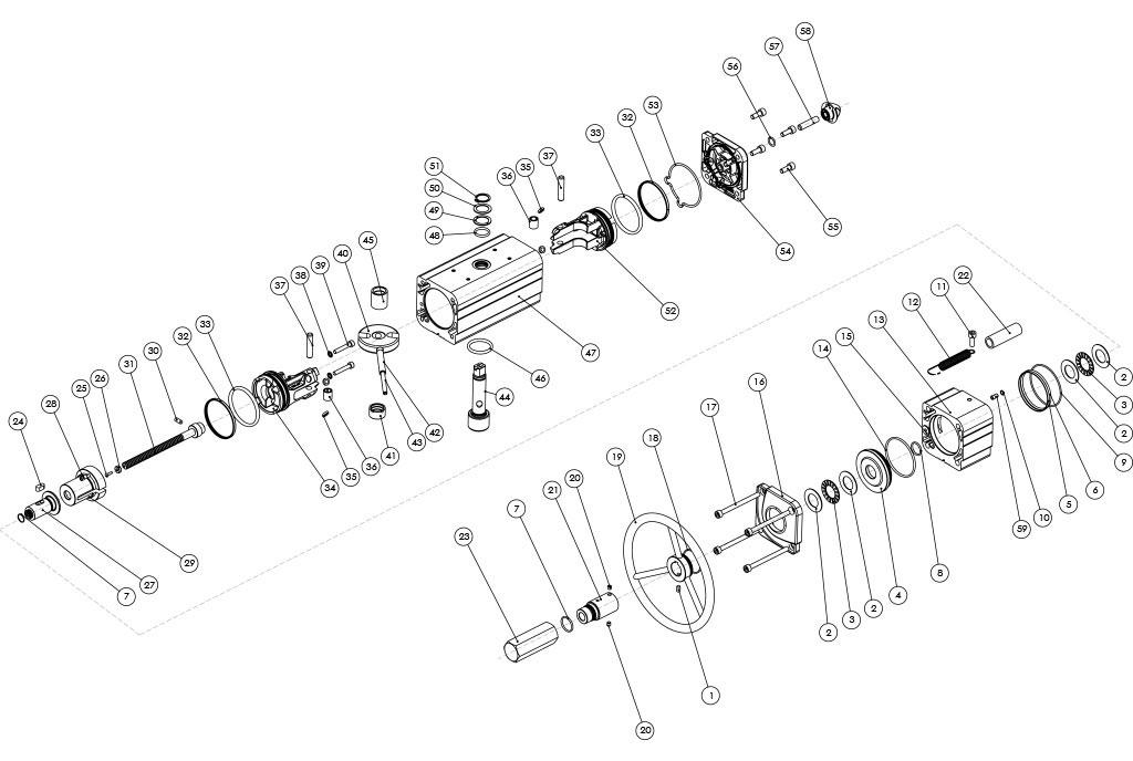 集成手动操纵装置的GDV型双效气动执行器 - 物料 - 集成手动操纵装置的双效气动执行器的组件 - 尺寸:最高可达GDV1920