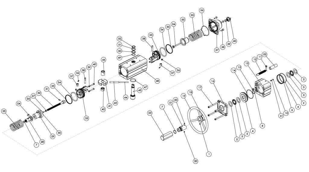 集成手动操纵装置的GSV型单效气动执行器 - 物料 - 集成手动操纵装置的单效气动执行器的组件 - 尺寸:最高可达GSV960