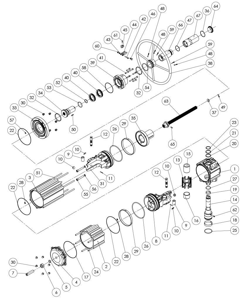 集成手动操纵装置的GDV型双效气动执行器 - 物料 - 集成手动操纵装置的双效气动执行器的组件 - 尺寸:GDV3840