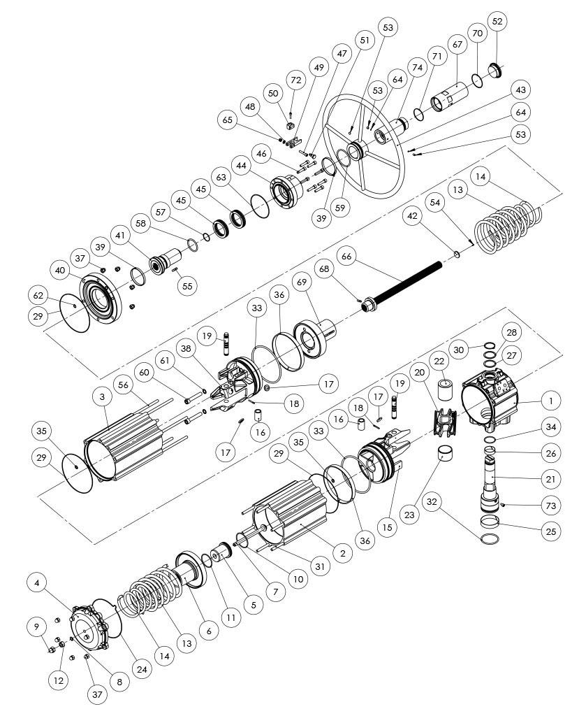 集成手动操纵装置的GSV型单效气动执行器 - 物料 - 集成手动操纵装置的单效气动执行器的组件 - 尺寸:GSV1920
