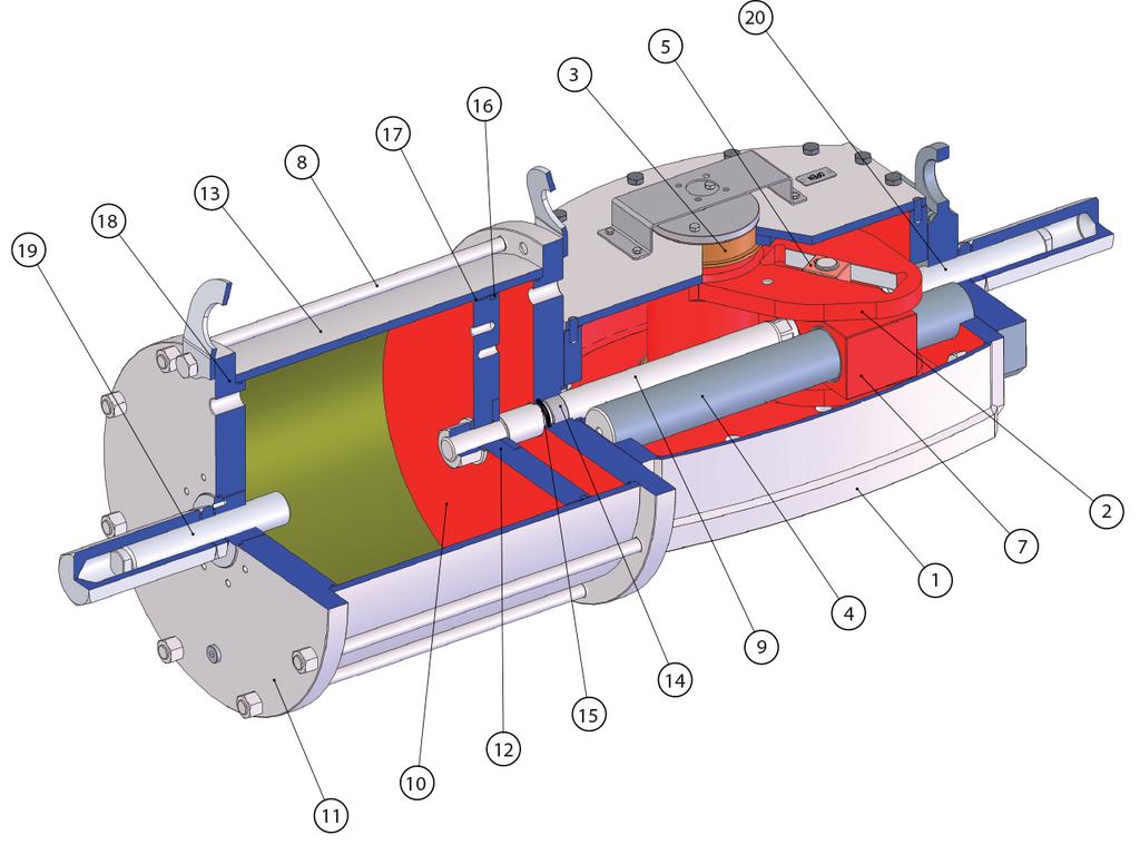 碳钢材质GD型重载荷双效气动执行器 - 物料 -
