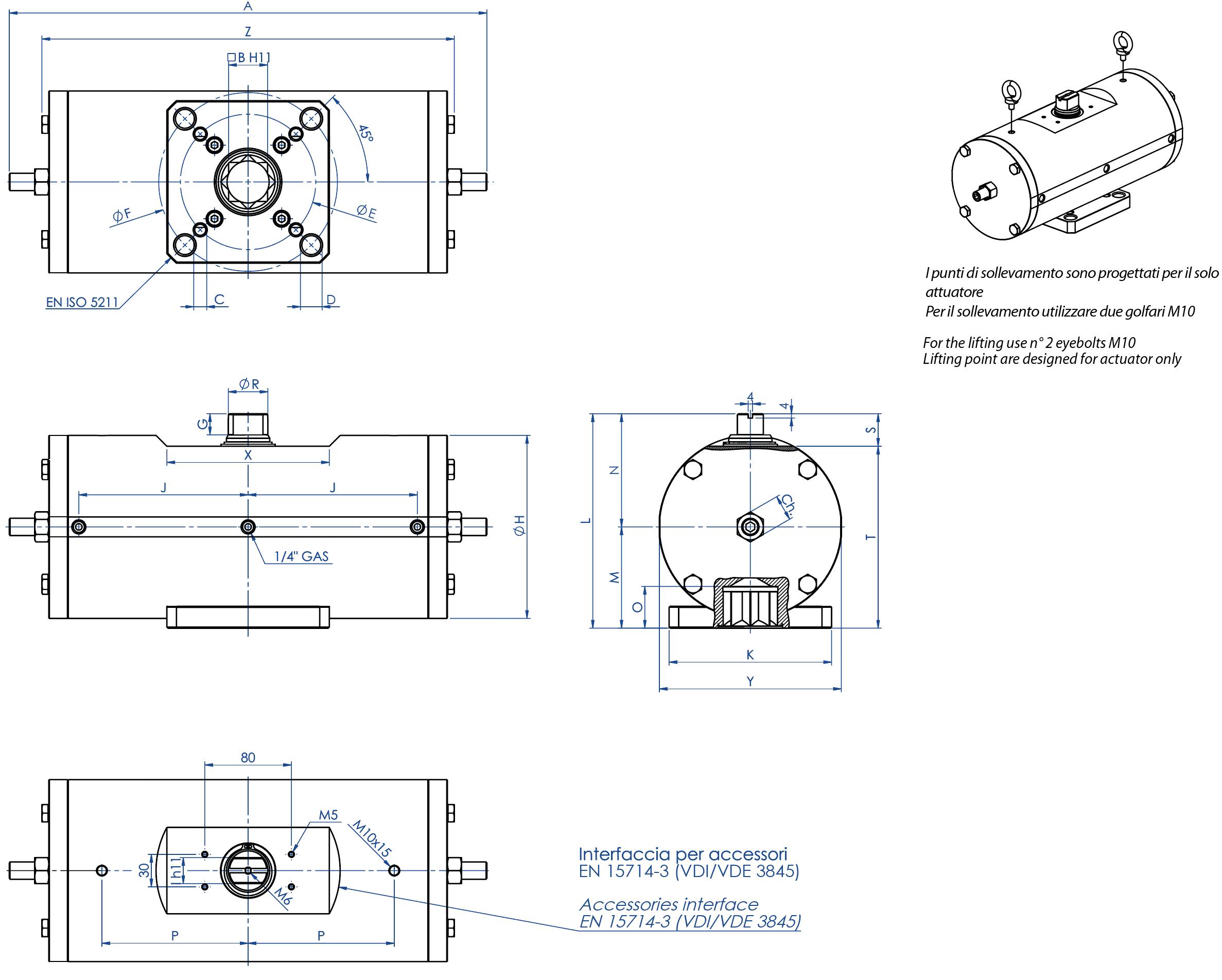 316圆不锈钢材质GD型双效气动执行器 - 特性 -