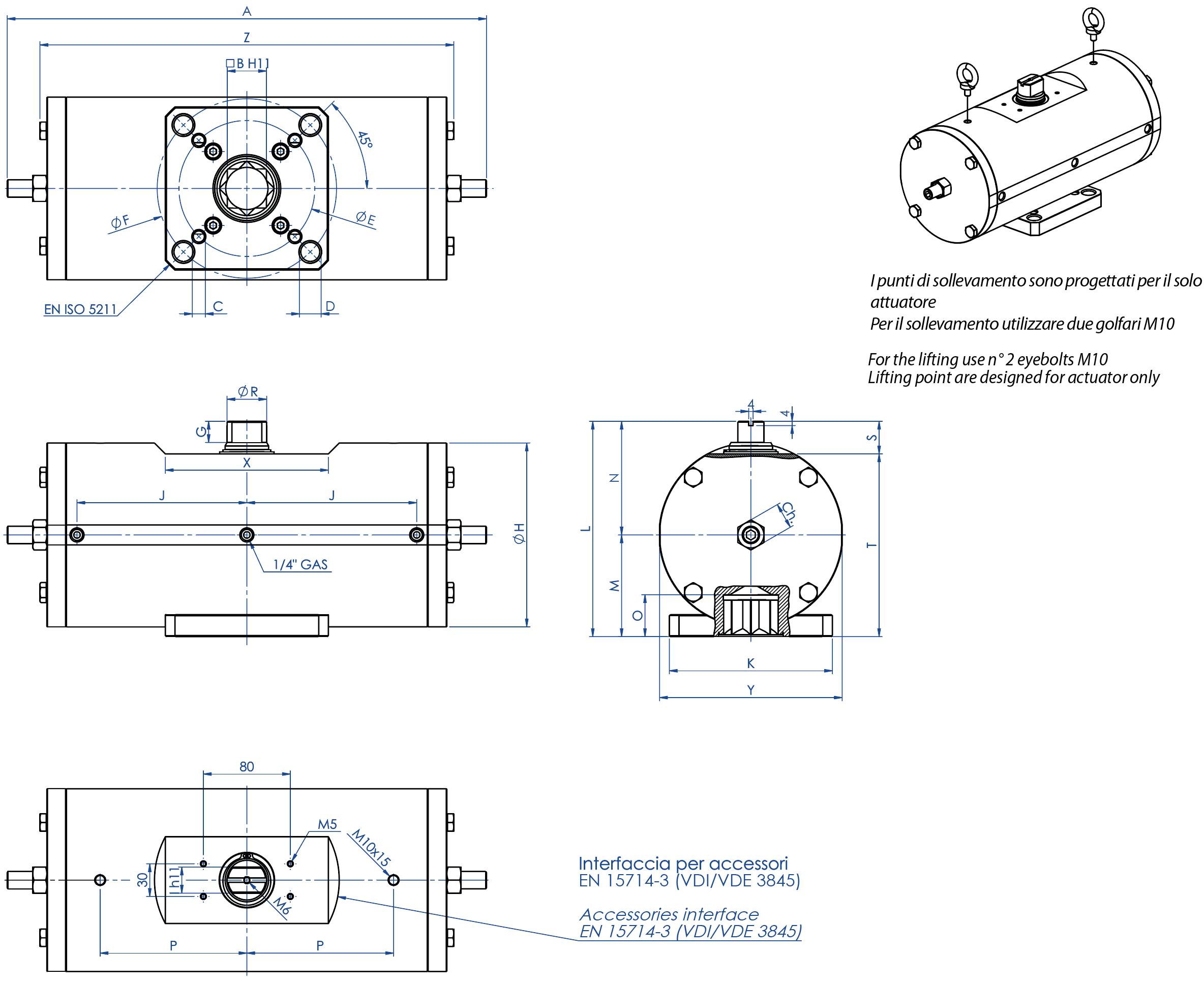 A105碳钢材质GD型双效气动执行器 - 特性 -