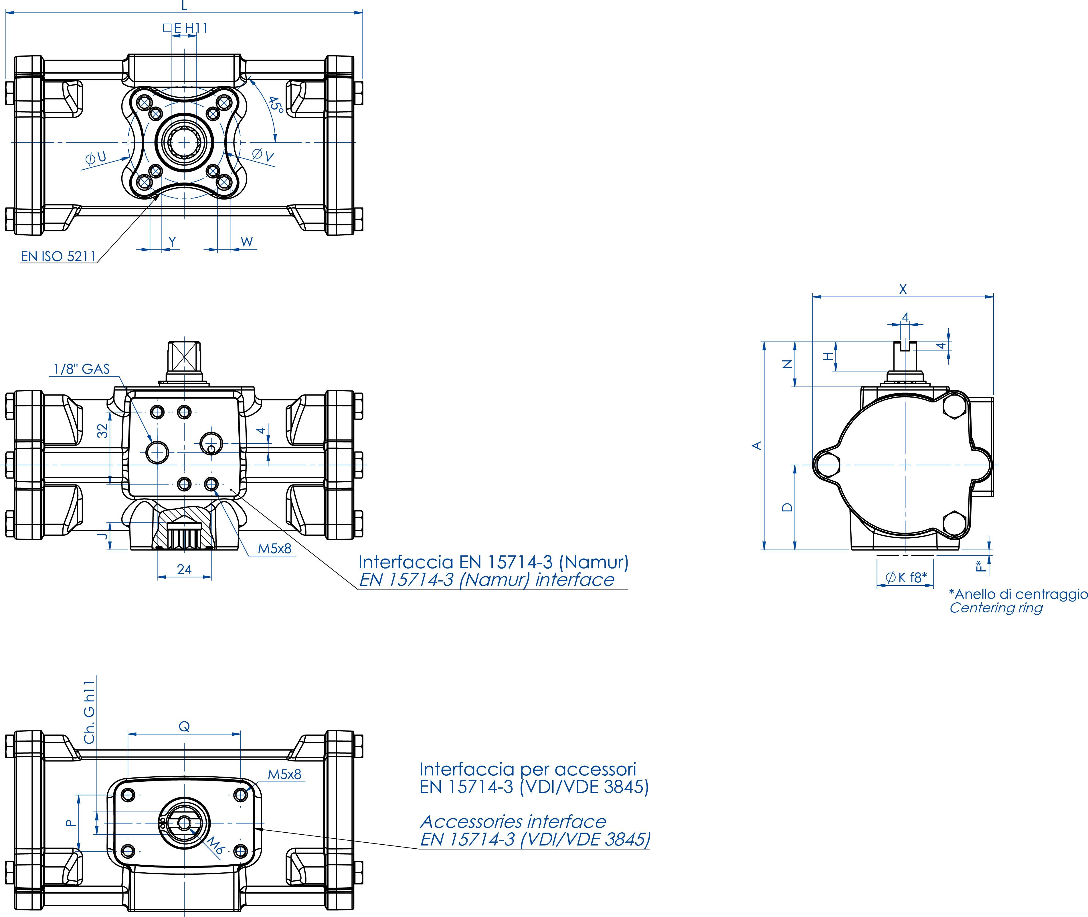 失蜡法CF8M不锈钢材质GD型双效气动执行器 - 特性 - GD60 ÷ GD480
